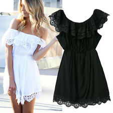 Hot Sexy Women Backless Off Shoulder Dress Evening Cocktail Party Lace Dresses