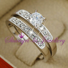 18K WHITE GOLD GP SILVER Wedding ENGAGEMENT RING SET w/ SWAROVSKI CRYSTAL R2070