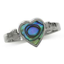 Reversible Heart Shape Abalone/Paua Shell Inlay 925 Sterling Silver Ring
