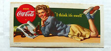 """1942 DRINK COCA-COLA """"I THINK IT'S SWELL"""" BLOTTER"""