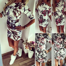 Women Off Shoulder Floral Bandage Bodycon Summer Casual Evening Party Sexy Dress