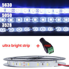 5M 3528 5050 5630 300 SMD White LED Flexible Strip Light Waterproof +Adapter Lot
