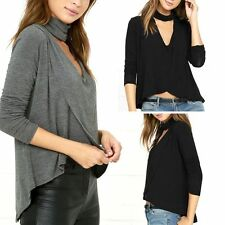 Fashion Women Spring V-neck Tops Loose Long Sleeve T-Shirt Casual Blouse Tops