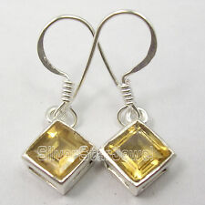 925 Sterling Silver Authentic CITRINE GEMS STYLISH Dangle Earrings 1 1/8 inches
