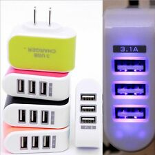 Wall Home Phone Charger AC LED Power Light Charger Adapter 3-Port USB