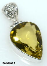 925 Sterling SILVER Lemon Quartz Pendant, Genuine Gemstone Solitaire Jewellery