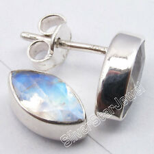 925 Silver RAINBOW MOONSTONE FASHIONABLE Studs Earrings 1.1 CM NEW Free Shipping