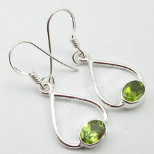COMBINED SHIPPING !! .925 Solid Silver High End RICHFEEL PERIDOT Earrings 3.4 CM