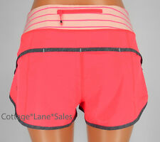 NEW LULULEMON Run Speed Short 6 10 Electric coral Quiet Stripe Butter Pink Grey