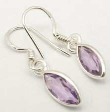 Gemstone WELL MADE Earrings 3.0 CM, 925 Sterling Silver, Collectible AMETHYST