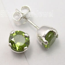 .925 Solid Silver GREEN PERIDOT Studs Posts Earrings 1/4 inches FACTORY DIRECT