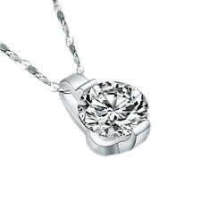 Stunning Round Crystal Jewelry Women New Pendant Necklace Silver Plated Zircon