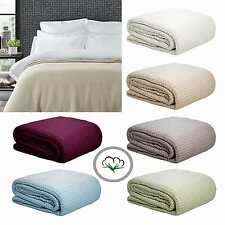 100% Cotton Knitted Waffle Blanket - Single / King Single or Double / Queen