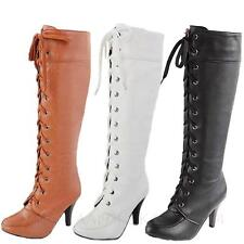 ladies Lace Up Mid Calf Winter Combat High Heel Oxfords cowboy womens Boots Size