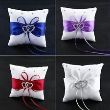 Double Cushion Ceremony Crystal White Party Bearer Wedding Pillow Ring