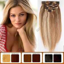 160g++ Double Weft Clip In Remy Human Hair Extensions Full Head Real THICK BS100