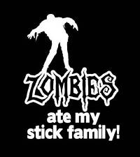 Zombies Ate my Stick Family Decal, Vinyl sticker, car sticker