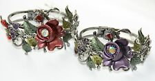 Floral & Butterfly Cuff Bangle Victorian Look Bracelet Antique Finish