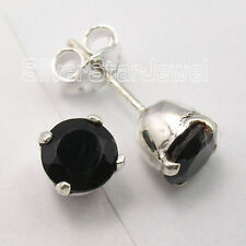 .925 Solid Silver Beautiful BLACK ONYX LATEST STYLE Studs Posts Earrings 0.7 CM