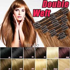 Natural Hair Clip In 100% Real Remy Human Hair Extensions Full Head set US BS235