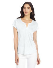 Lucky Brand Womens White Linen Pleated Placket Top Shirt XL X-Large