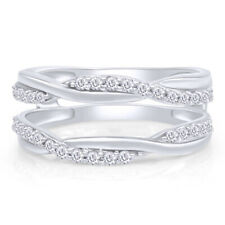 14K White Gold 0.33ctw Solitaire Enhancer Diamonds Ring Guard Wrap Wedding Band
