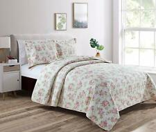 REVERSIBLE Pink Rose Vintage Washed 100%-Cotton Quilt Set  or Throw