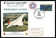 1976 Us First Flight Washington To London Concorde Cover Red Cachet