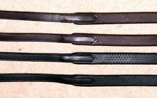 """FSS German Leather Everyday FLEXIBLE Pimple Rubber Grip Reins Silver 5/8"""" 16mm"""