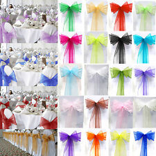 1/10/25/50/100 Organza Chair Seat Sashes Bow Wedding Party Venue Decorations New