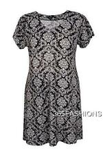 SAMYA PLUS SIZE BAROQUE PRINT BUTTON V NECK TUNIC DRESS BLACK 18 20 22 24 26 28
