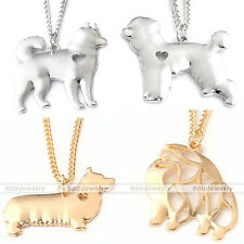 Cute Husky Poodle Corgi Alaska Dog Silver/Rose Gold Alloy Sheet Pendant Necklace