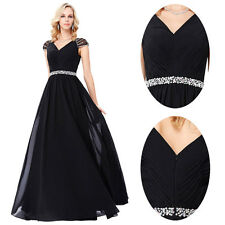 Sexy Black Long Evening Dress Ball Wedding Prom Party Cocktail Bridesmaid Dress