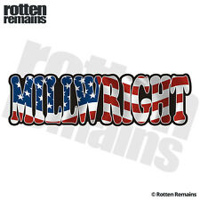 Millwright Decal American Flag USA United States Vinyl Hard Hat Sticker C7X