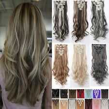 UK Real 8PC 18 Clips Clip In Hair Extensions Hairpiece Hair Extentions Human LRH
