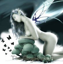 Moonflower Moon Light Fairy dark elf mushroom nude girl Erotic Fantasy Art 8x10