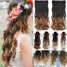 Long Ombre Hair Thick One Piece Half Head Dip Dyed Clip in Hair Extentions Lnc
