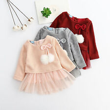 Toddler Infant Kids Baby Girls Long Sleeve Dress Princess spring Party Dresses