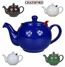 Chatsford Ceramic Teapot 2, 4, 6 or 10 Cup in Blue, Green, Brown, White or Cream