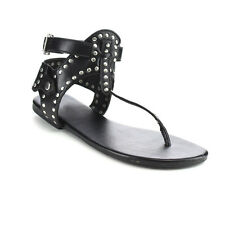 LILIANA DB21 Women's Studded Accents Thong Ankle Buckle Strap Gladiator Sandals