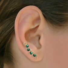 Ear Sweeps Pins Vines Earrings Gold or Silver with Gemstones or Beads #258