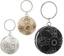 WOMENS HARD CASE DIAMANTE BEADED ROUND WRIST CLASP PARTY OCCASION CLUTCH BAG