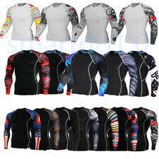 Men's Long Sleeve Compression Thermal Under Base Layer Tights T-shirts Gym Tops