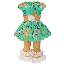 AnnLoren Girls Floral Damask Tunic and Capri Outfit sz 12/18 mo-9/10yrs