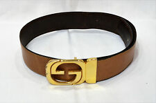 Vintage Gucci GG Brown Reversible Brass Buckle Belt 33'' Authentic made in Italy