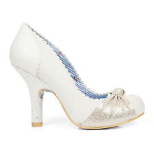 Irregular Choice Smarty Pants Cream High Heel Wedding Prom Party Court Shoes