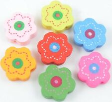 30pcs Mixed Wood Flower Spacer Beads 18x5mm