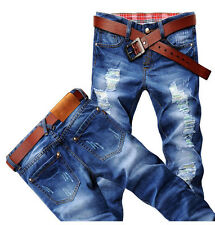 Hot Classic Men Stylish Designed Straight Slim Fit Trousers Casual Jeans Pants a