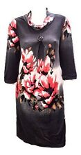 SAMYA PLUS SIZE FLORAL PRINT COWL NECK BUTTON DETAIL TUNIC DRESS GREY