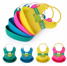 Cute Baby Soft Silicone Bib Waterproof Saliva Dripping Kid Infant Lunch Bibs LAC